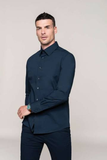 Long-Sleeved Cotton/elastane Shirt