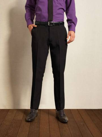Men'S Slim Fit Polyester Long Leg Trousers
